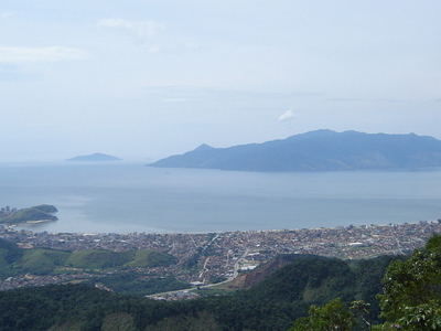 View Of Downtown Caraguatatuba With Ilhabela At Background.