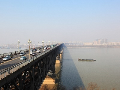 View Traffic Over Nanjing Yangtze River Bridge