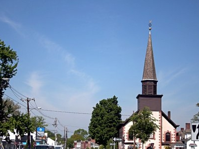 Village Entrance On Main Street With The Dutch Church To The Rig