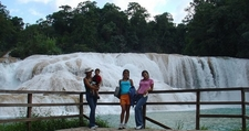 Visitors At Agua Azul Waterfalls In Chiapas