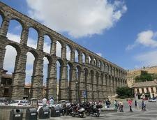 Visitors At Aqueduct Of Segovia