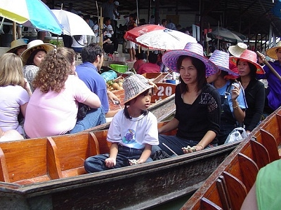 Visitors At Damnoen Saduak Floating Market