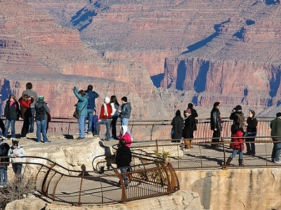 Visitors At Mather Point In Grand Canyon AZ