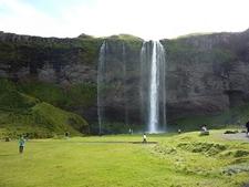 Visitors Below Seljalandsfoss Waterfall
