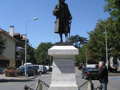 Statue Of Voltaire In Towns Center
