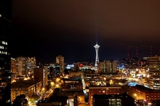 WA Seattle Night Sky With Space Needle