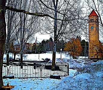 WA Spokane Clock Tower - Winter View