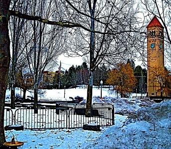 WA Spokane Clock Tower - Winter View