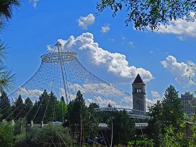 WA Spokane Skyline With Clock Tower