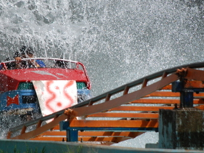 Essel World Roller Coaster Splashes Water