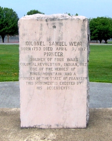 Monument Marking Samuel Wear's Grave
