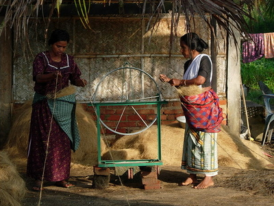 Women At Work In A Small Scale Coir Spinning Unit At Kollam