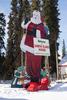 Wooden-Cut Santa At North Pole