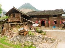 Wooden Houses At Yangtiao Near Kaili