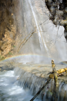 Waterfall Of Milonas Gorge In Spring