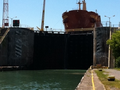 A Ship In Lock 3 Of The Welland Canal