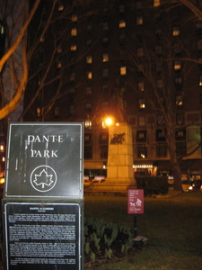 Dante Park And The Poet's Statue