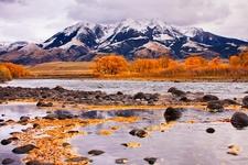 Yellowstone River And Absaroka Mountain Range, Montana