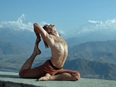 Yoga In Himalayas - Machapuchare  Backdrop - Annapurna Nepal