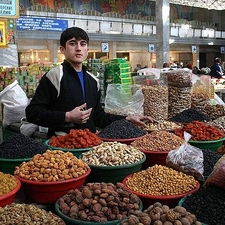 Young Tajikistani Dryfruit Seller