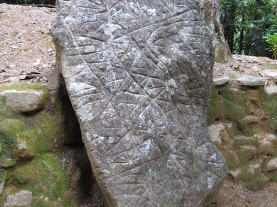Boulder With Carved Markings