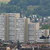 Zuerich Hochhaus Lochergut Helikopter