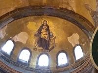 Mary Mosaic With Caliography At Ayasofay