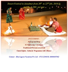 Dance Festival In Jaisalmer 20th To 22nd Feb 2016 @ Just Rs. 5100/- Per Pax